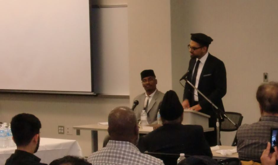 "Imam Hammad addresses the gathering at the ""Muhammad's (PBUH)  Message Examined"" event that took place in CCBC Owings Mills"